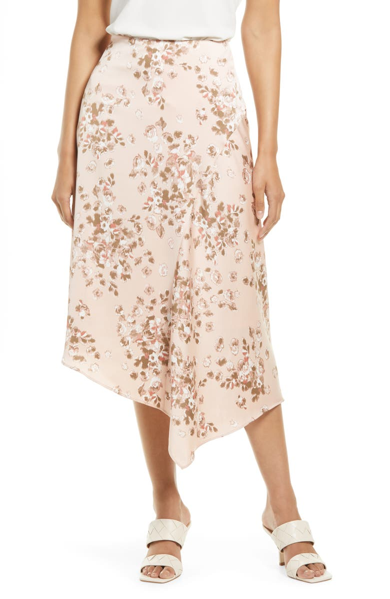 NORDSTROM Asymmetric Satin Skirt, Main, color, PINK BLURRED BLOOMS