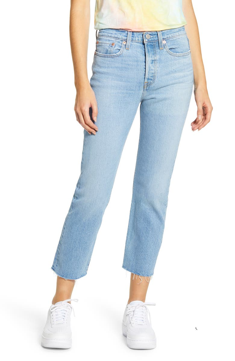 LEVI'S<SUP>®</SUP> Wedgie High Waist Raw Hem Straight Leg Jeans, Main, color, TANGO HUSTLE