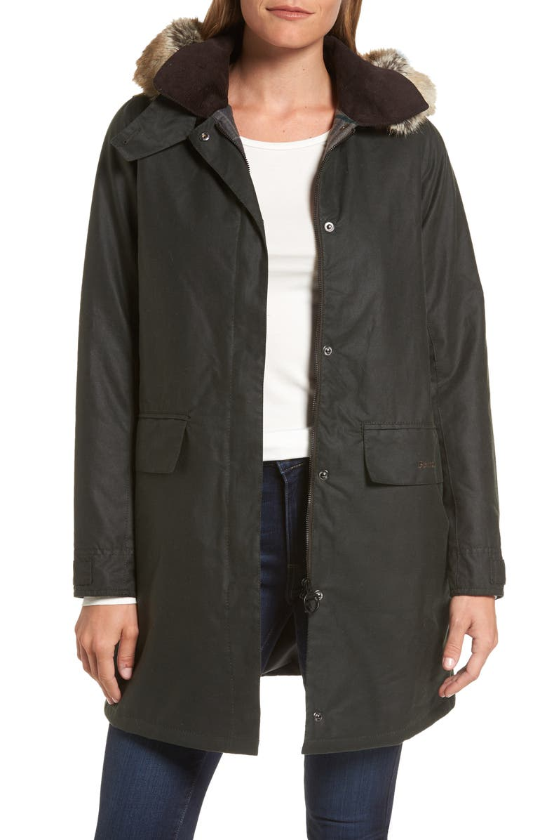 BARBOUR Fortrose Hooded Water Resistant Waxed Canvas Jacket with Faux Fur Trim, Main, color, SAGE