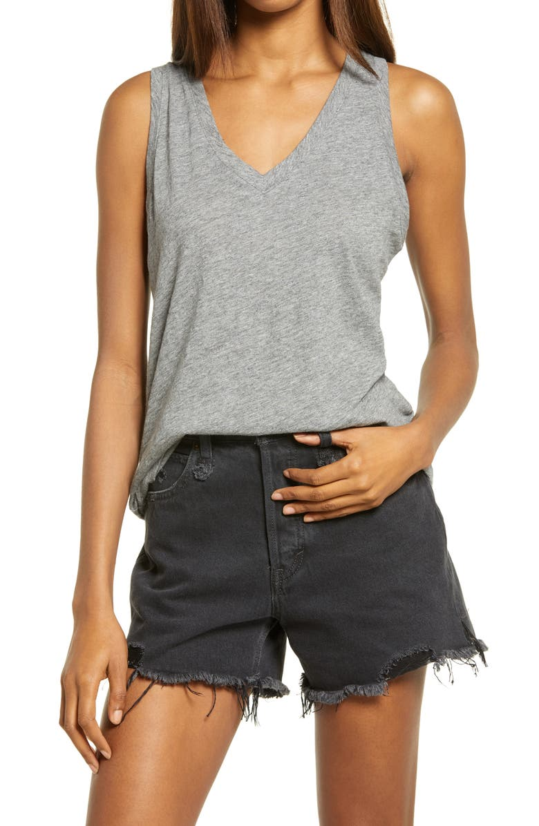 MADEWELL Whisper Shout Cotton V-Neck Tank, Main, color, HTHR IRON