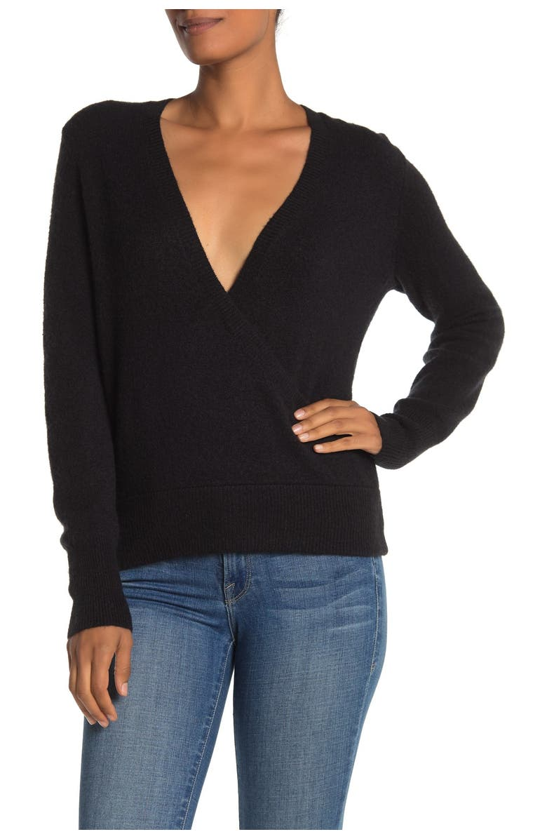 MADEWELL Faux Wrap Pullover Sweater, Main, color, 001