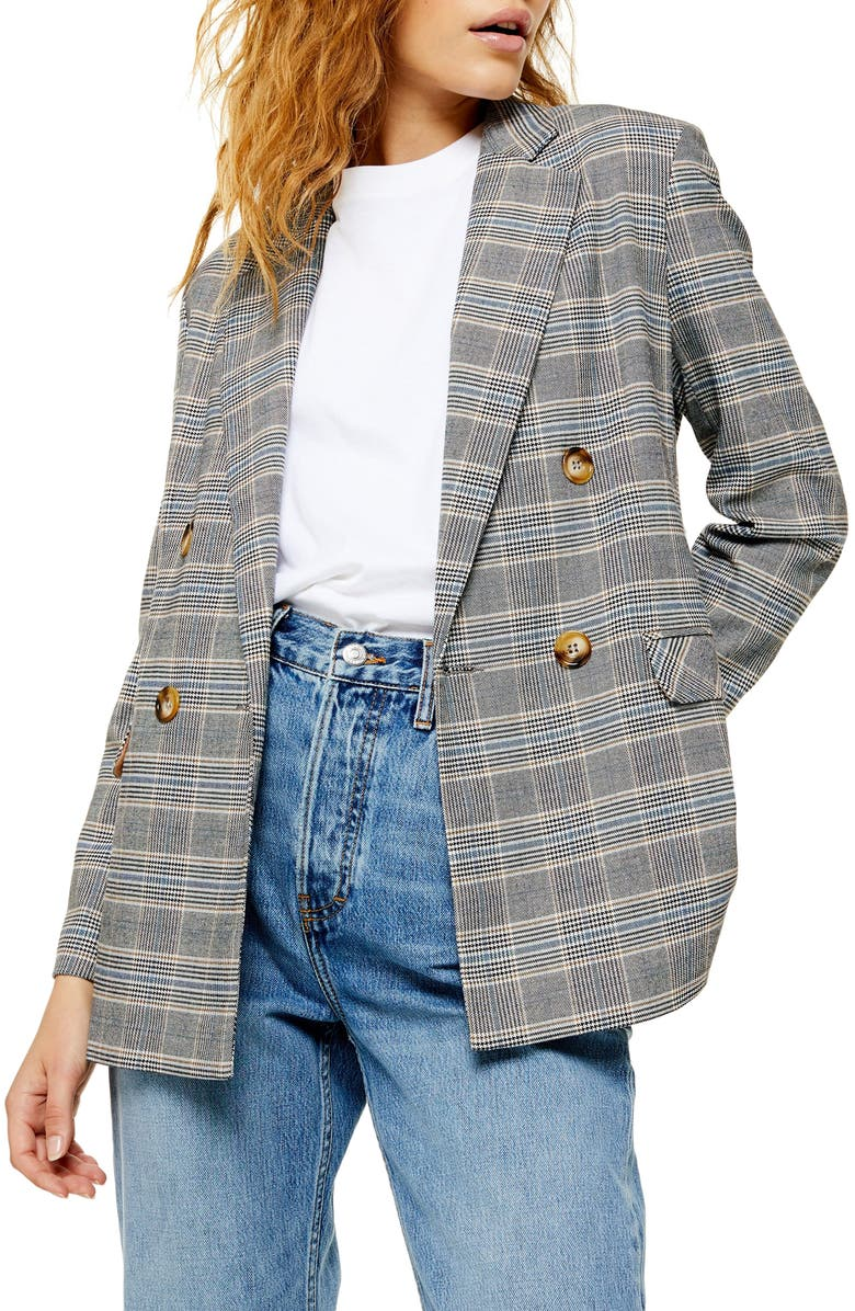TOPSHOP Double Breasted Plaid Blazer, Main, color, 020
