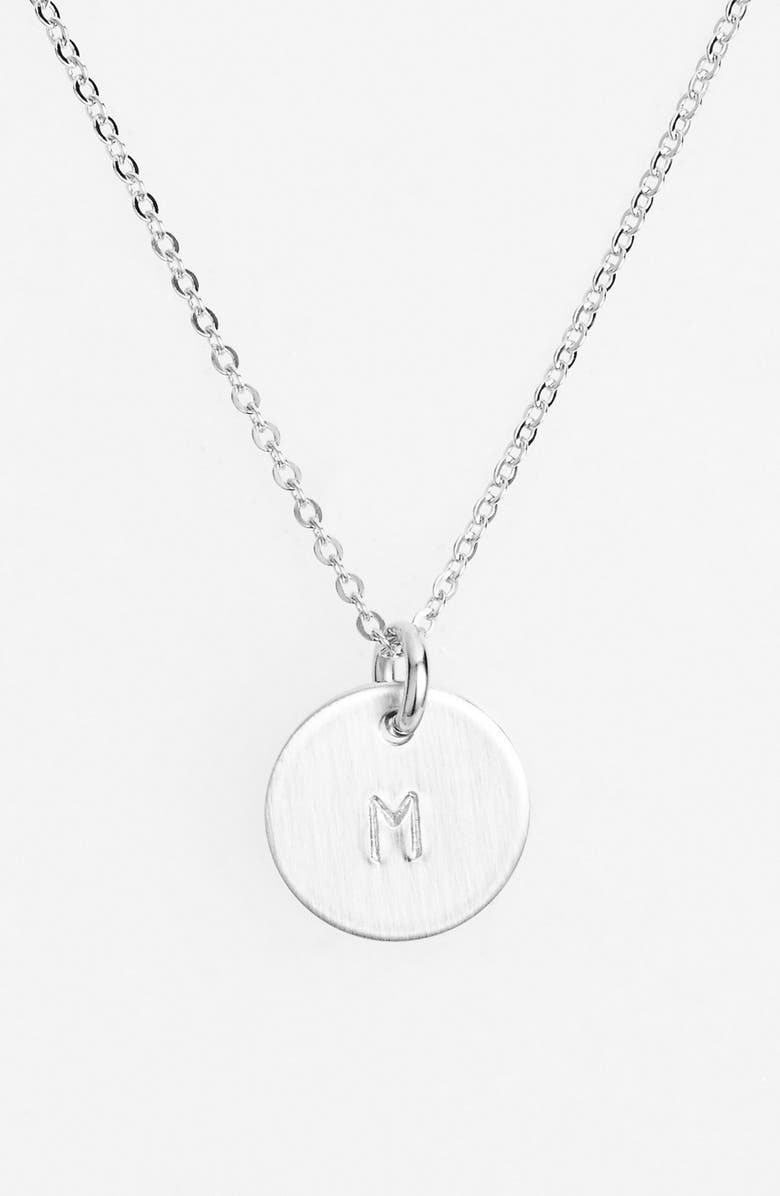 NASHELLE Sterling Silver Initial Mini Disc Necklace, Main, color, STERLING SILVER M