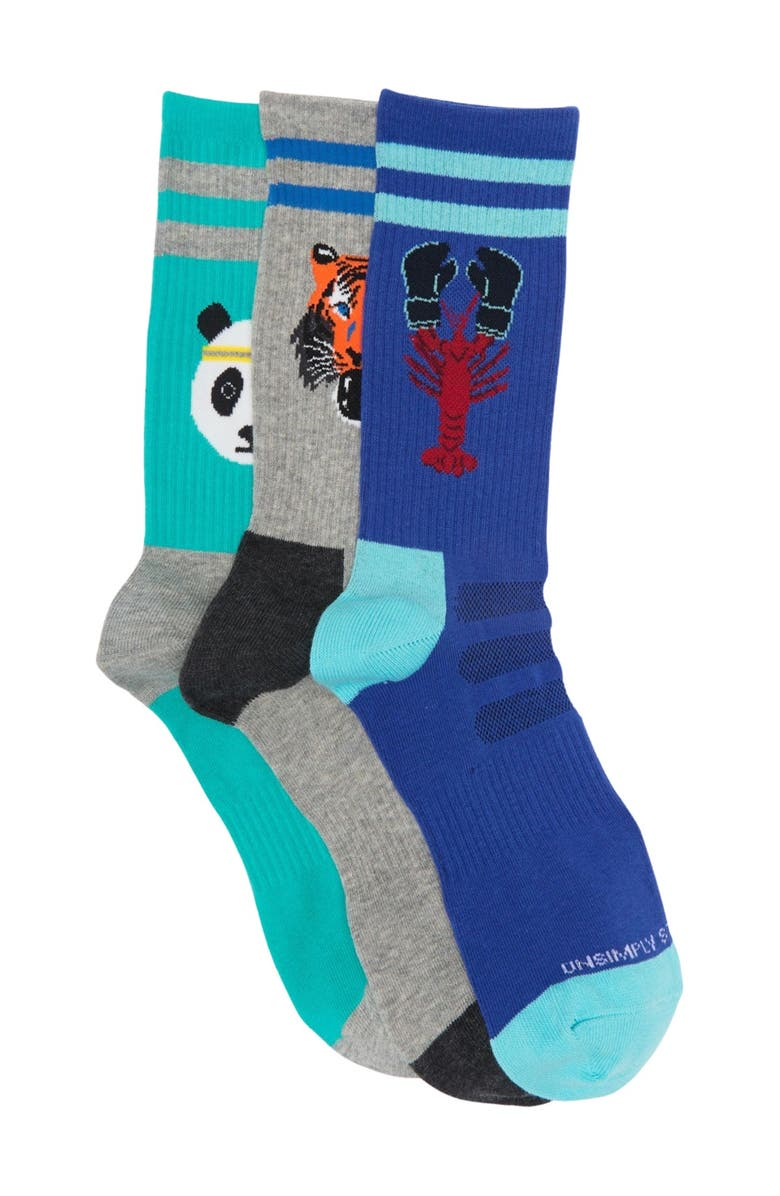 UNSIMPLY STITCHED Athletic Crew Socks - Pack of 3, Main, color, MULTI COLOR