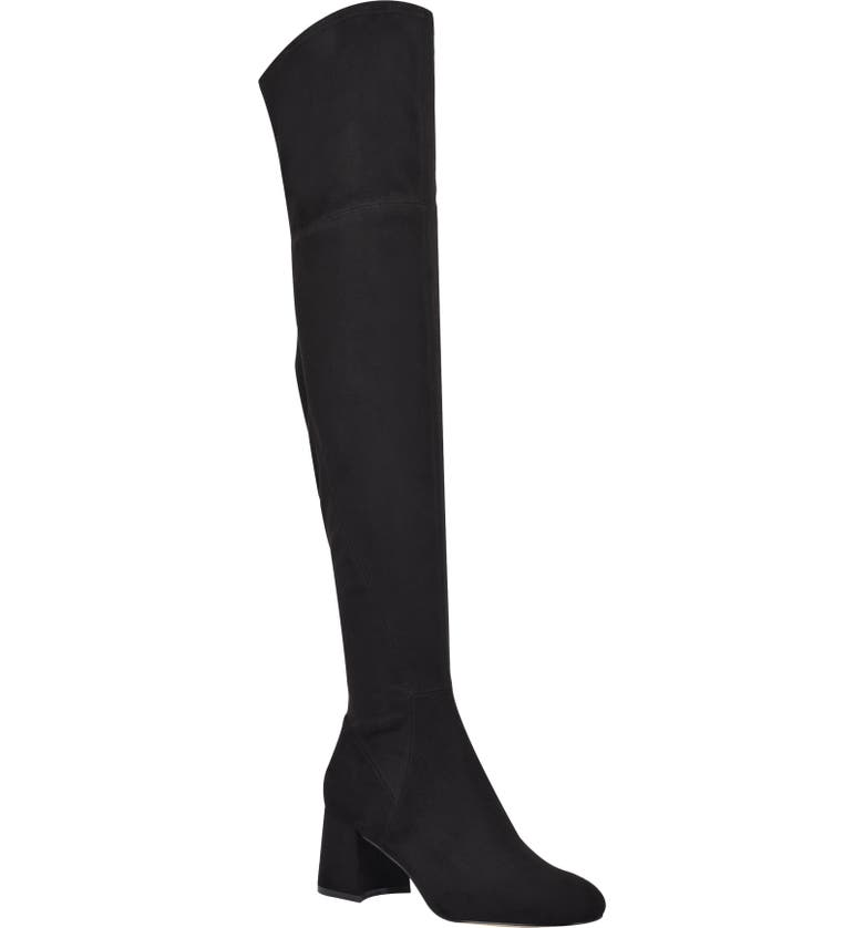 MARC FISHER LTD Yahila Over the Knee Boot, Main, color, BLACK FAUX SUEDE