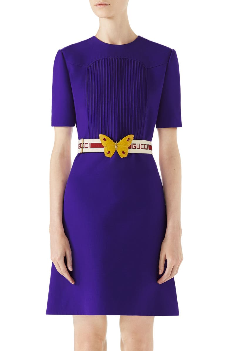 GUCCI Belted Pintuck Cady Crepe Dress, Main, color, 521