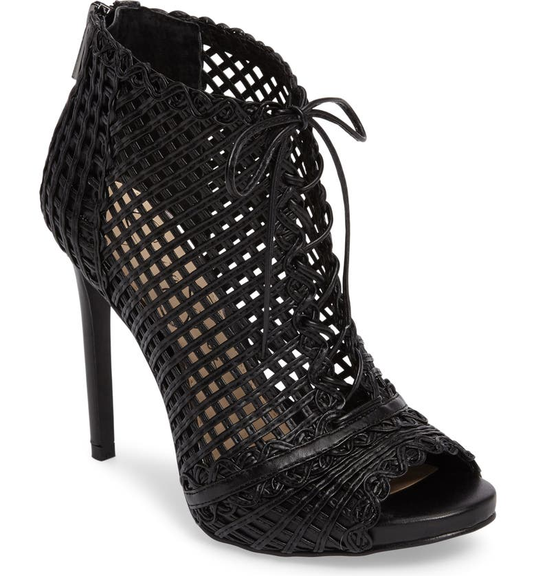 JESSICA SIMPSON Rendy Latticework Peep Toe Bootie, Main, color, 001