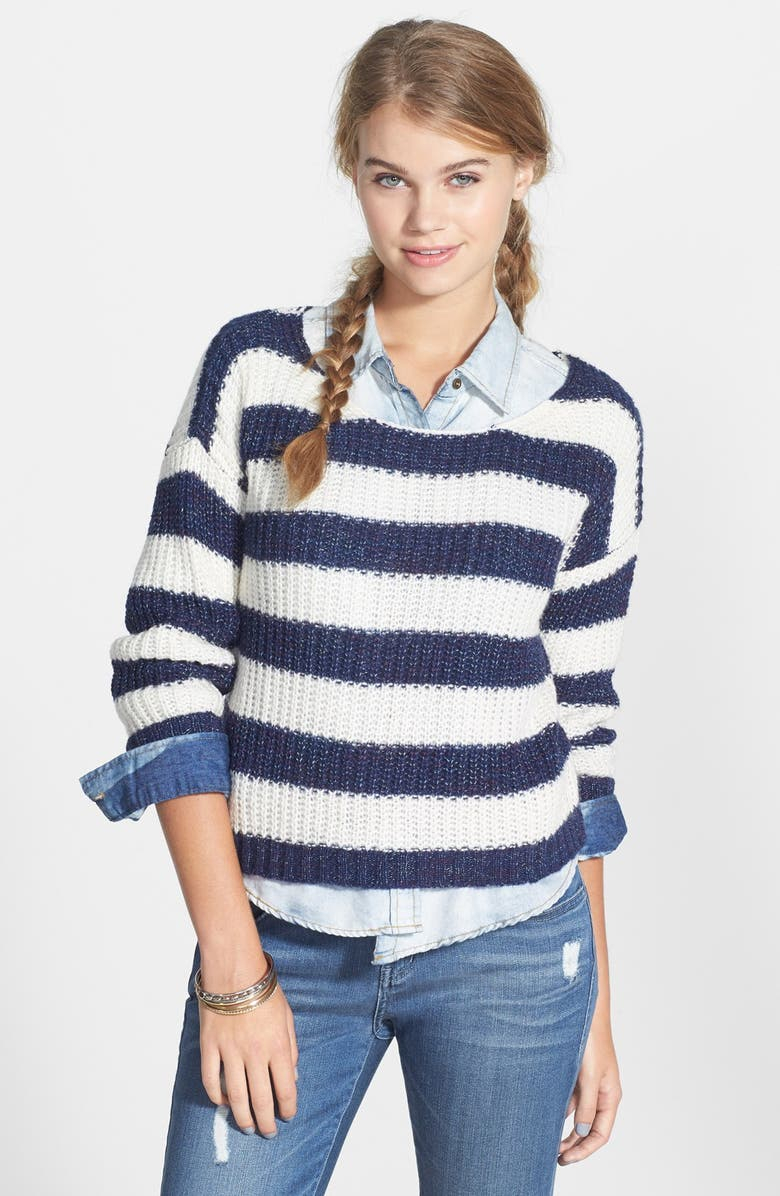 LOVE BY DESIGN Stripe Ribbed Pullover, Main, color, 400