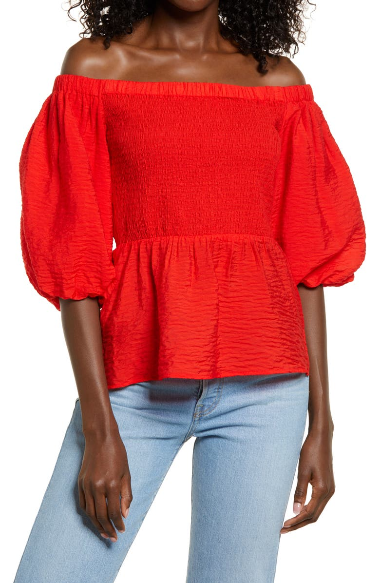 OPEN EDIT Smocked Puff Sleeve Top, Main, color, RED BLOOM