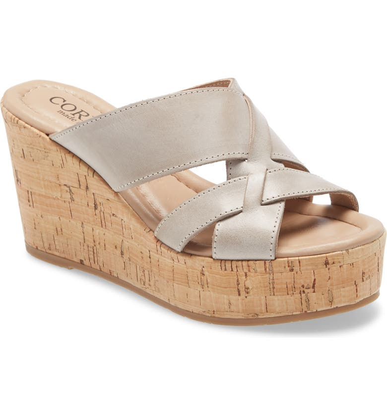 CORDANI Janet Wedge Sandal, Main, color, TAUPE LEATHER