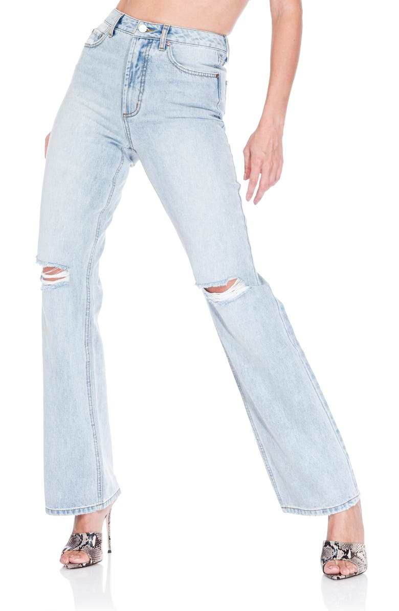 AFRM Oden Ripped High Waist Wide Leg Jeans, Main, color, LAPIS WASH
