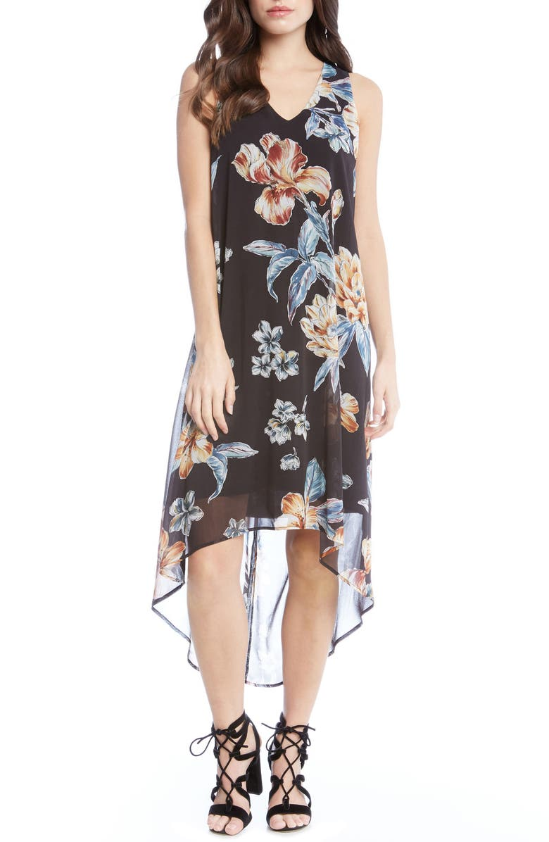 KAREN KANE High/Low Floral A-Line Dress, Main, color, 001