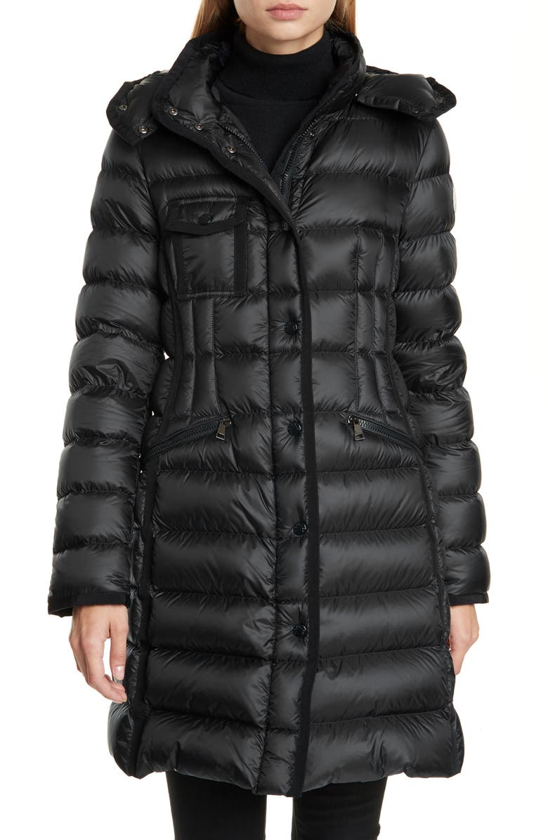 MONCLER Hermine Grosgrain Trim Quilted Down Puffer Coat, Main, color, BLACK