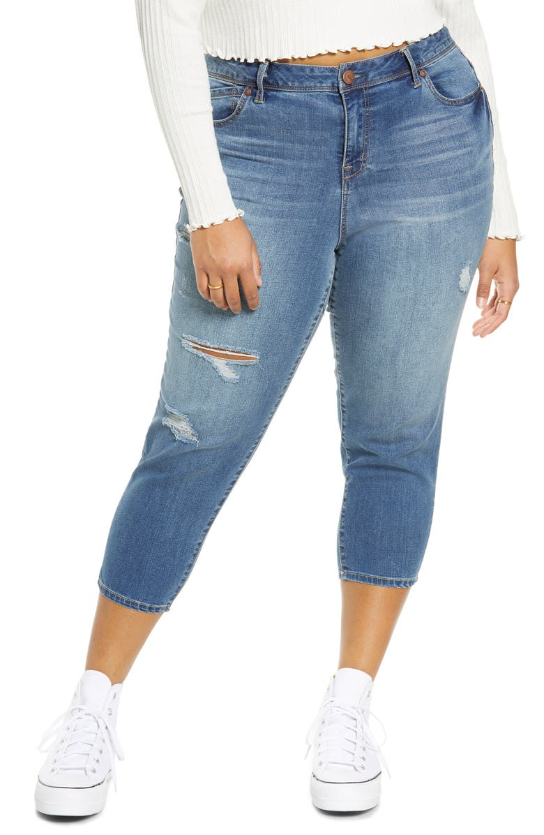 1822 DENIM Distressed Capri Jeans, Main, color, CARIN