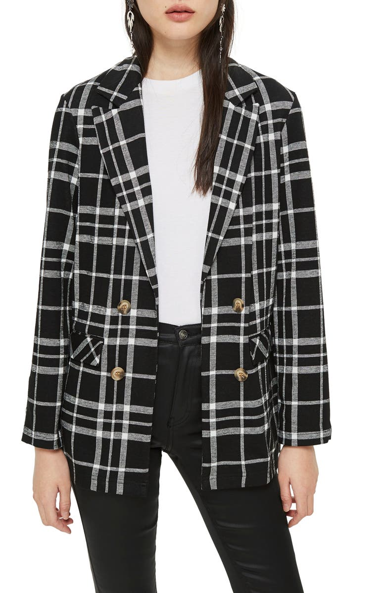 TOPSHOP Double Breasted Check Jacket, Main, color, BLACK MULTI