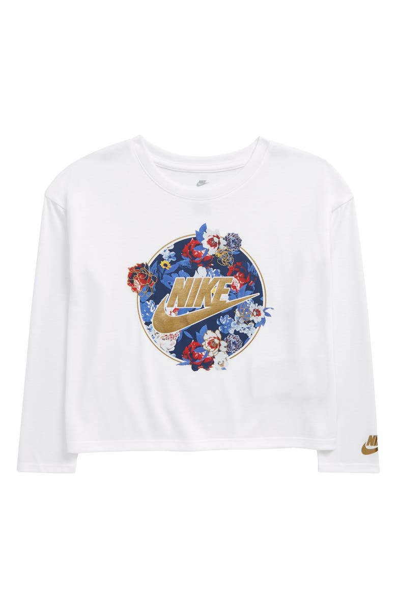 NIKE Kids' Long Sleeve Graphic Tee, Main, color, WHITE