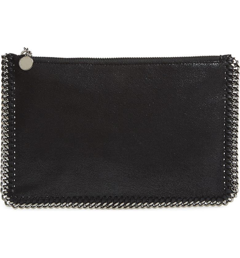 STELLA MCCARTNEY 'Falabella' Faux Leather Pouch with Convertible Strap, Main, color, 002
