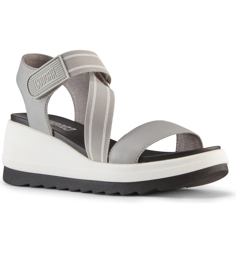 COUGAR Hibiscus Wedge Sandal, Main, color, FOSSIL NAPPA LEATHER