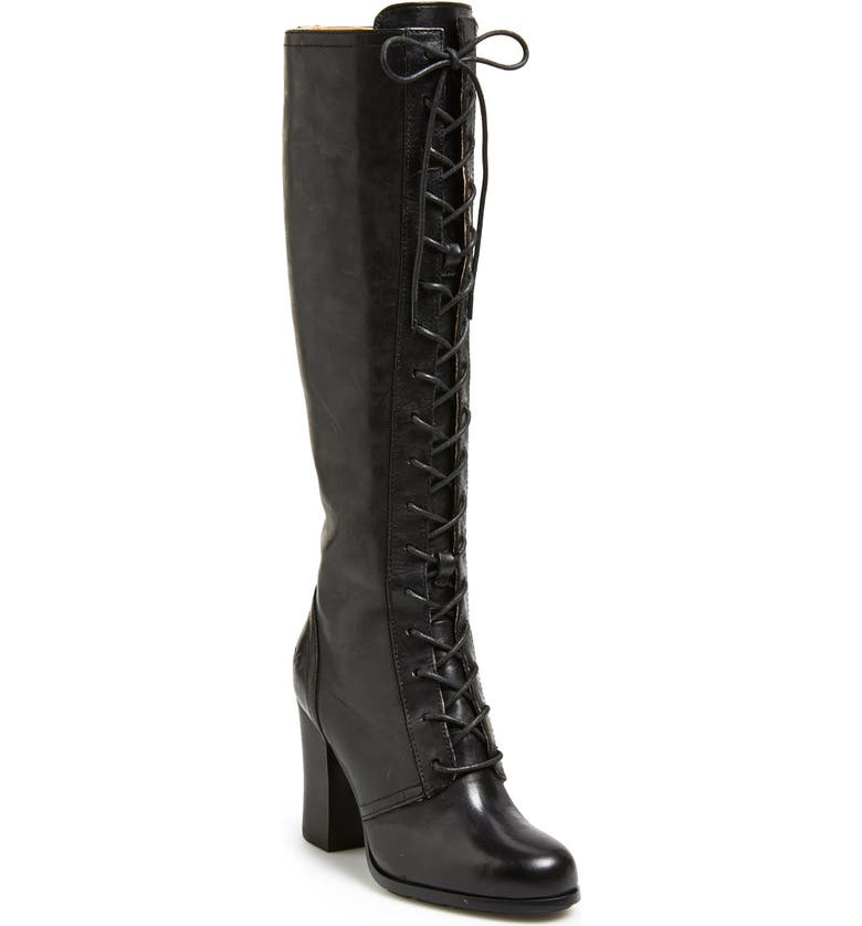 FRYE 'Parker' Lace-Up Tall Boot, Main, color, Black