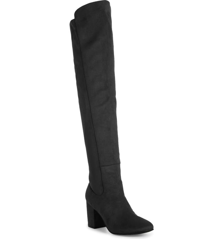 TREASURE & BOND Lynx Stretch Over the Knee Boot, Main, color, BLACK FAUX SUEDE