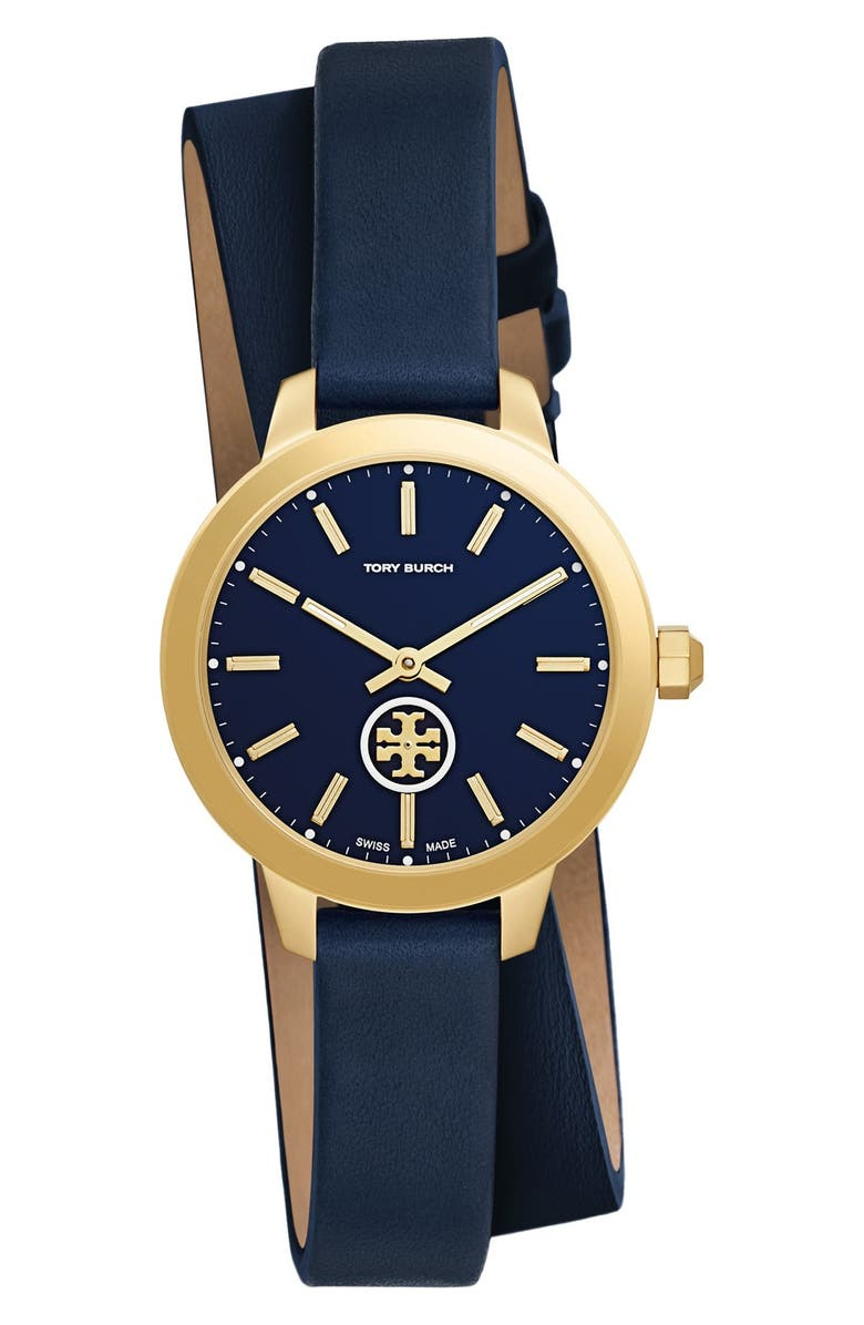 TORY BURCH 'Collins' Double Wrap Leather Strap Watch, 32mm, Main, color, 400