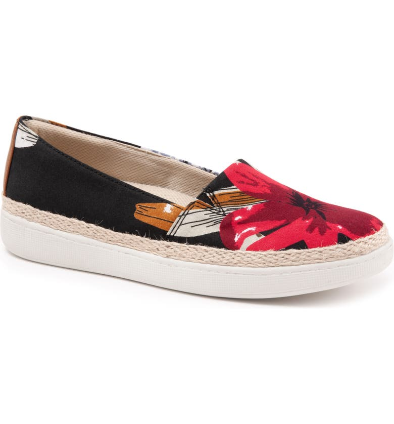 TROTTERS Accent Slip-On, Main, color, RED MULTI FABRIC