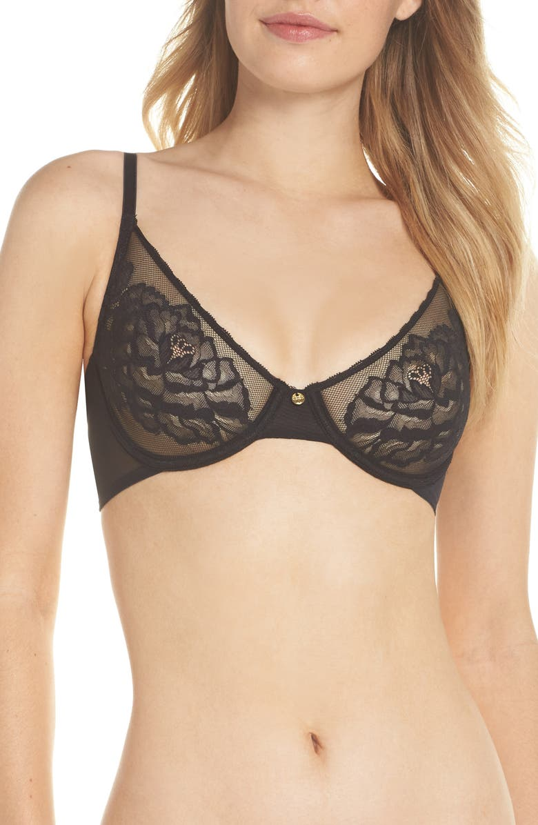 NATORI Flora Unlined Underwire Bra, Main, color, 001