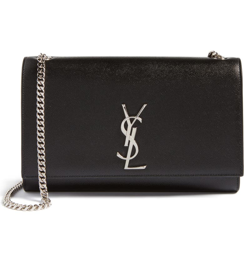 SAINT LAURENT Medium Kate Leather Wallet on a Chain, Main, color, NERO