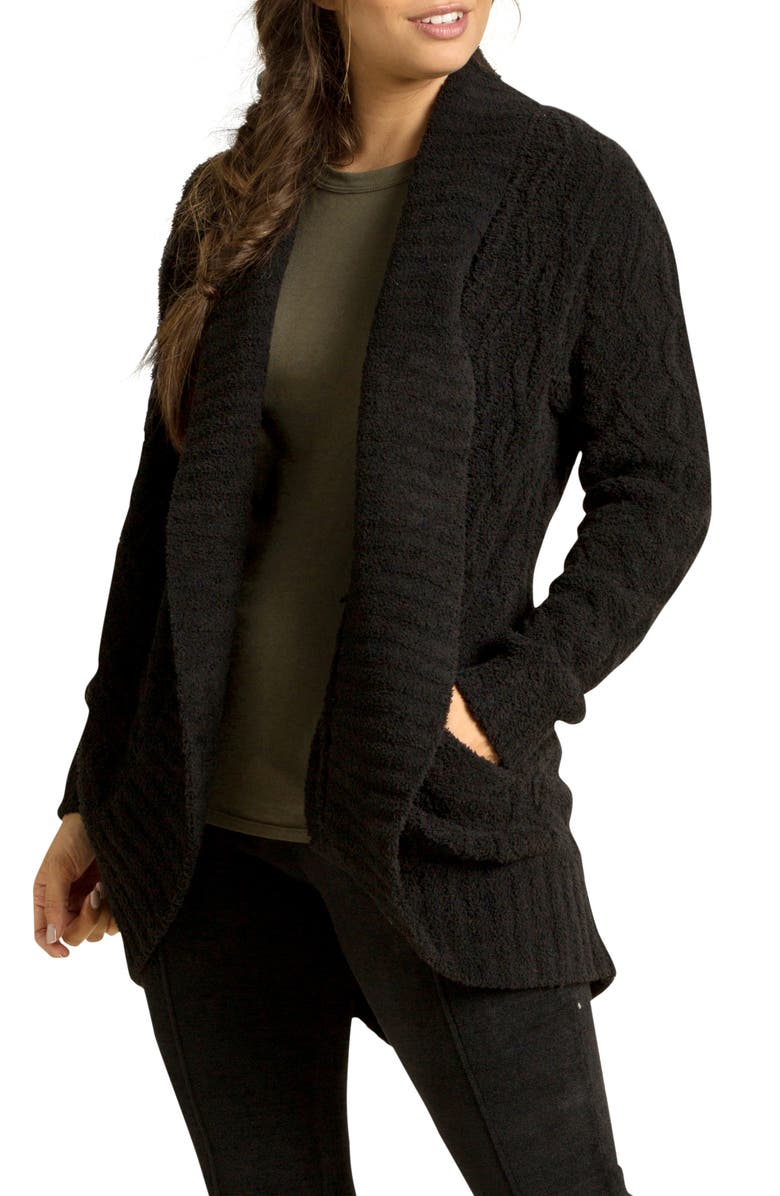 BAREFOOT DREAMS<SUP>®</SUP> CozyChic<sup>™</sup> Cable Knit Shawl Collar Cardigan, Main, color, BLACK