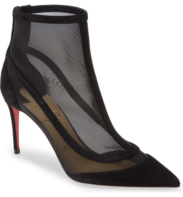 CHRISTIAN LOUBOUTIN Gala Mesh Pointed Toe Bootie, Main, color, BLACK