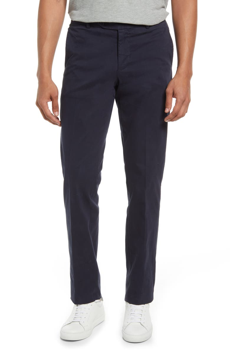 NORDSTROM Trim Straight Leg Stretch Flat Front Chino Trousers, Main, color, NAVY BLAZER