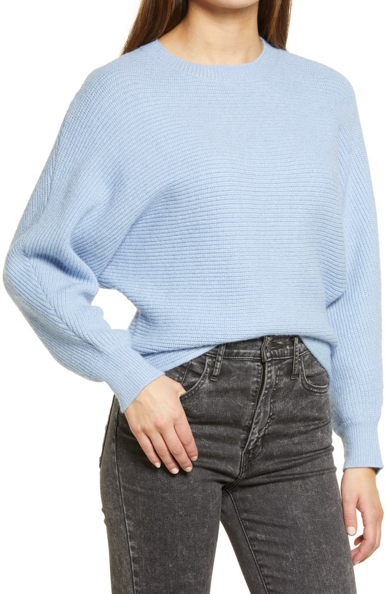 ALL IN FAVOR Ribbed Sweater, Main, color, BLUE