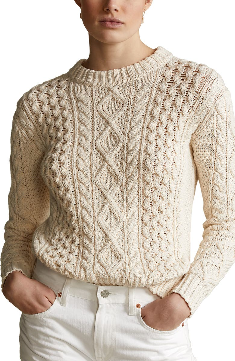 POLO RALPH LAUREN Cable Knit Sweater, Main, color, 900
