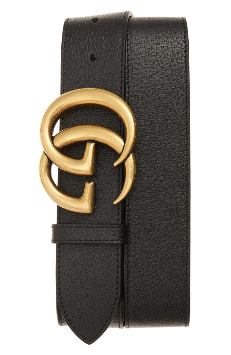 GUCCI GG Logo Buckle Leather Belt, Main, color, 001