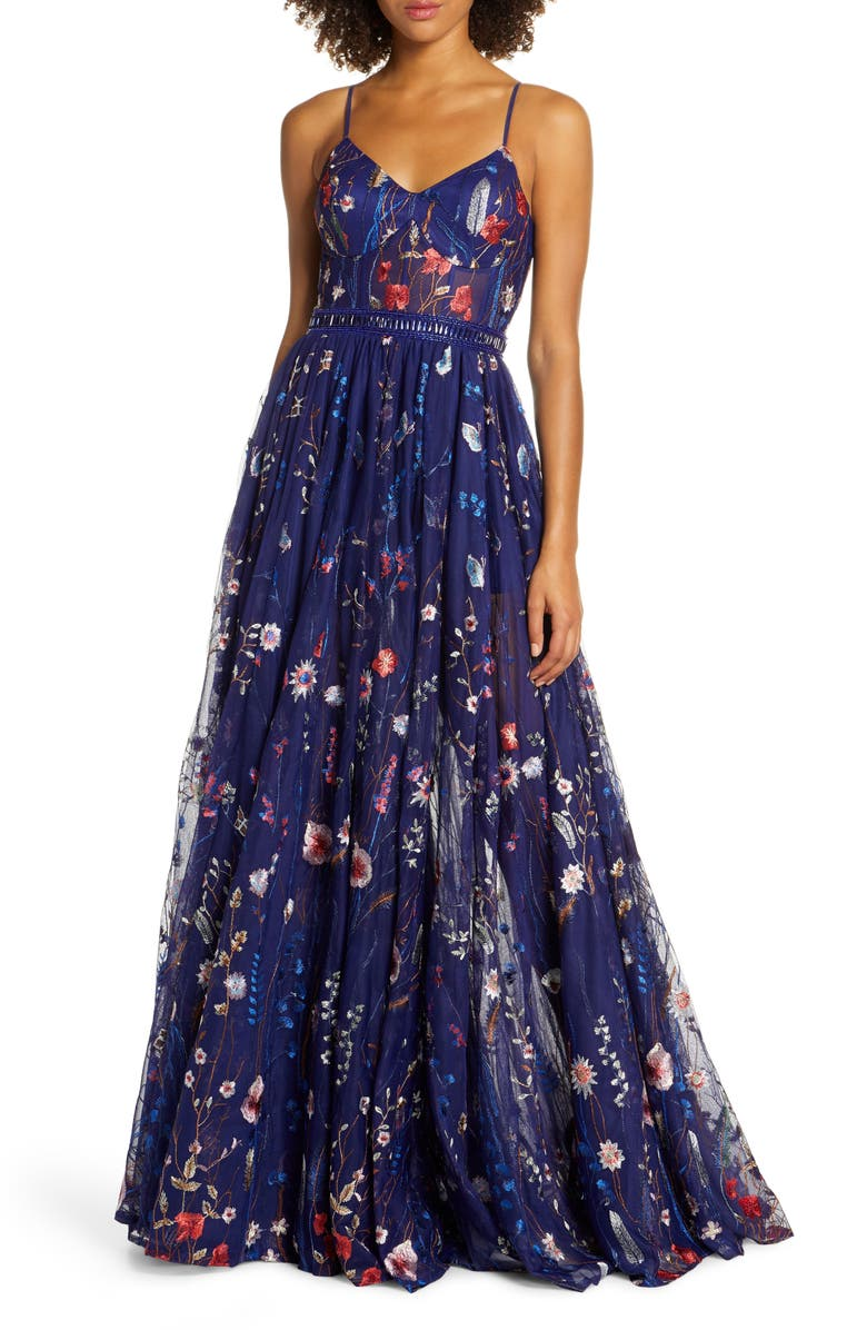 MAC DUGGAL Embroidered Mesh Bustier Gown, Main, color, INDIGO