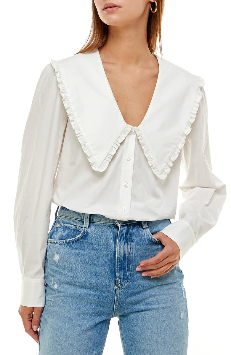 WAYF Esther Collar Blouse, Main, color, IVORY
