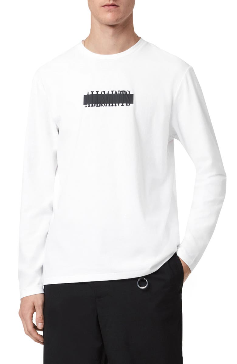 ALLSAINTS Stamp Laminate Long Sleeve Graphic Tee, Main, color, OPTIC WHITE