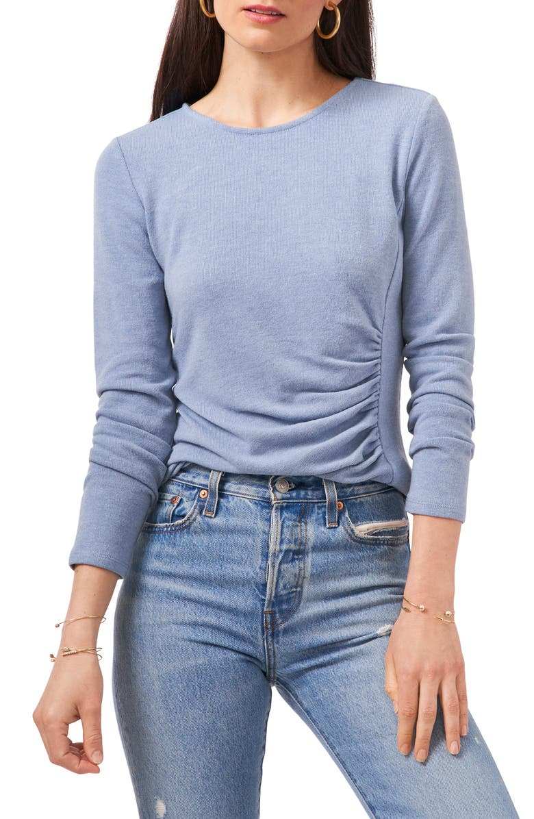 1.STATE Ruched Side Seam Long Sleeve Knit Top, Main, color, BLUE DENIM HEATHER