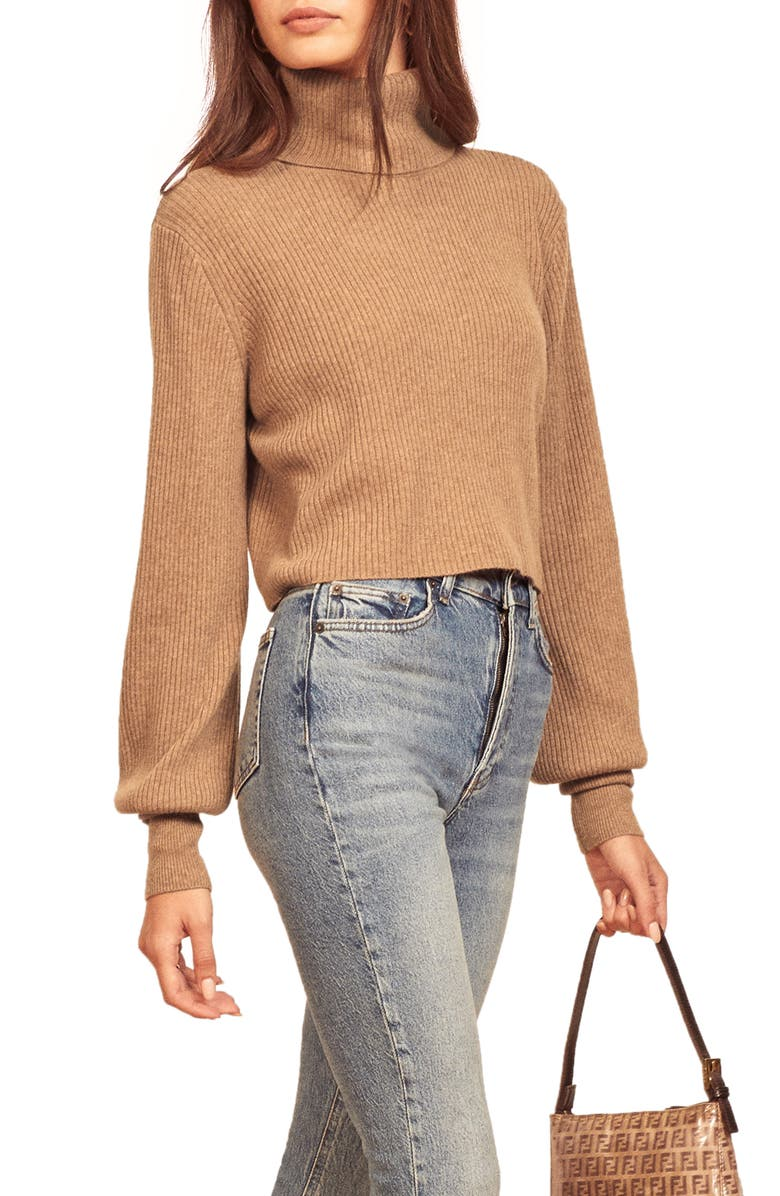 REFORMATION Luisa Crop Cashmere Blend Sweater, Main, color, CAMEL