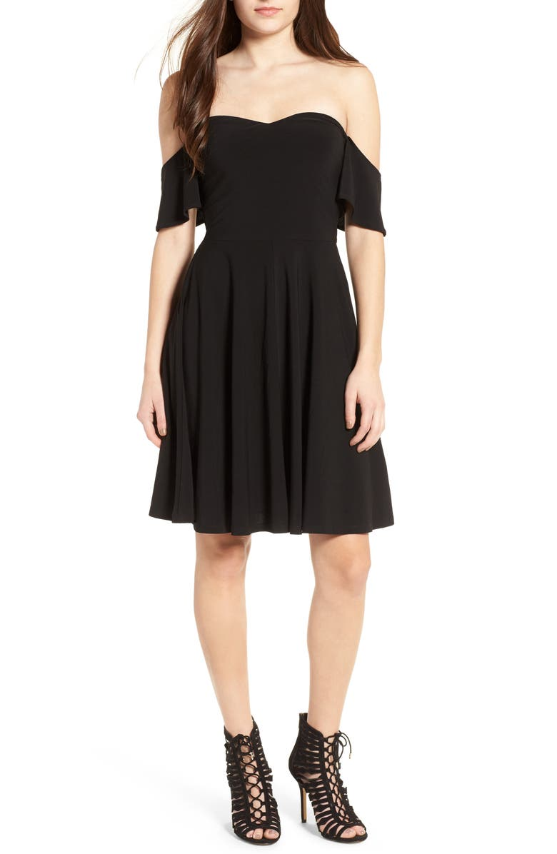 LEITH Off the Shoulder Fit & Flare Dress, Main, color, 001