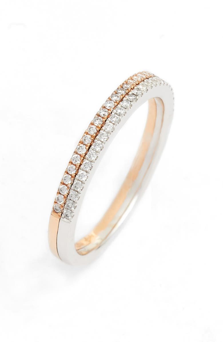 BONY LEVY Duo Metal Diamond Double Stacked Ring, Main, color, TWO TONE