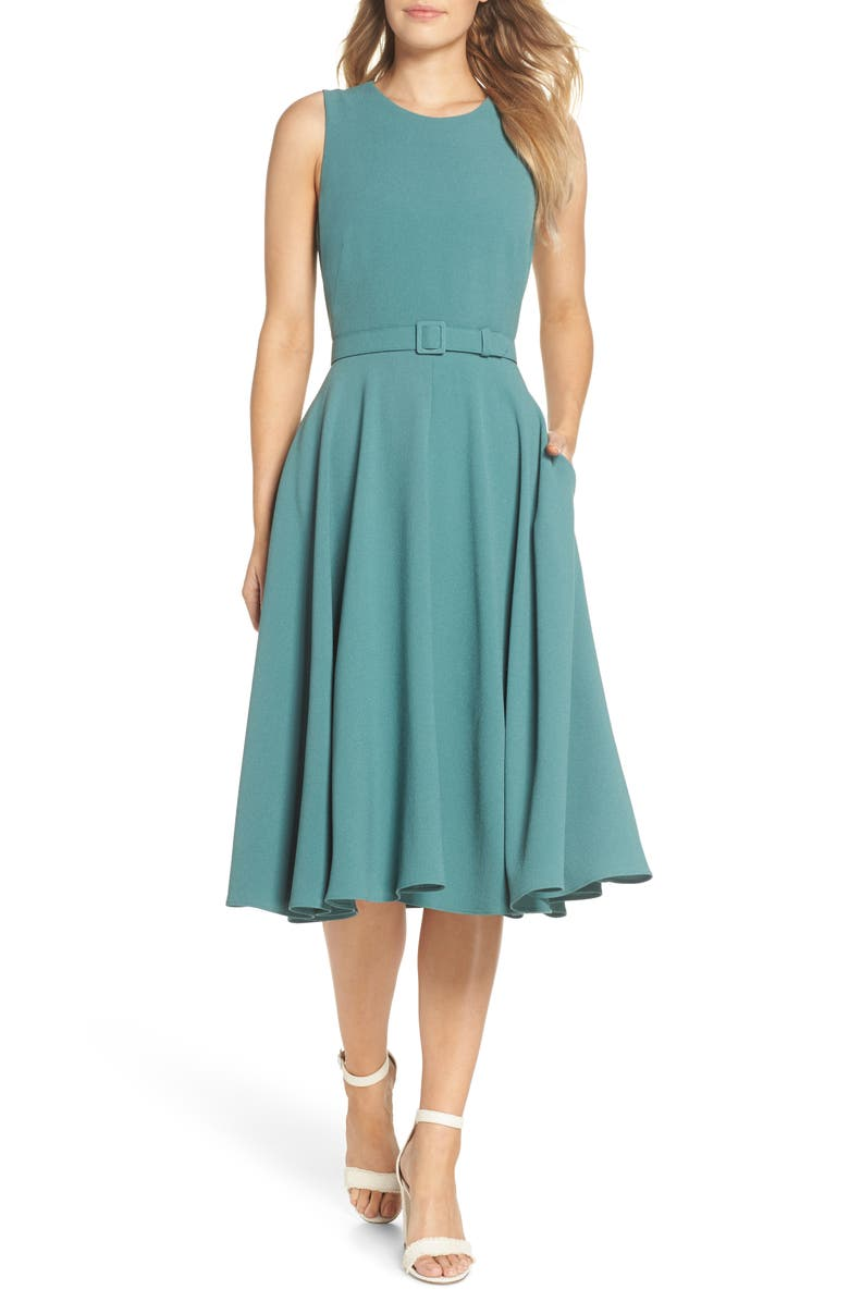 GAL MEETS GLAM COLLECTION Kaye Belted Fit & Flare Dress, Main, color, Green
