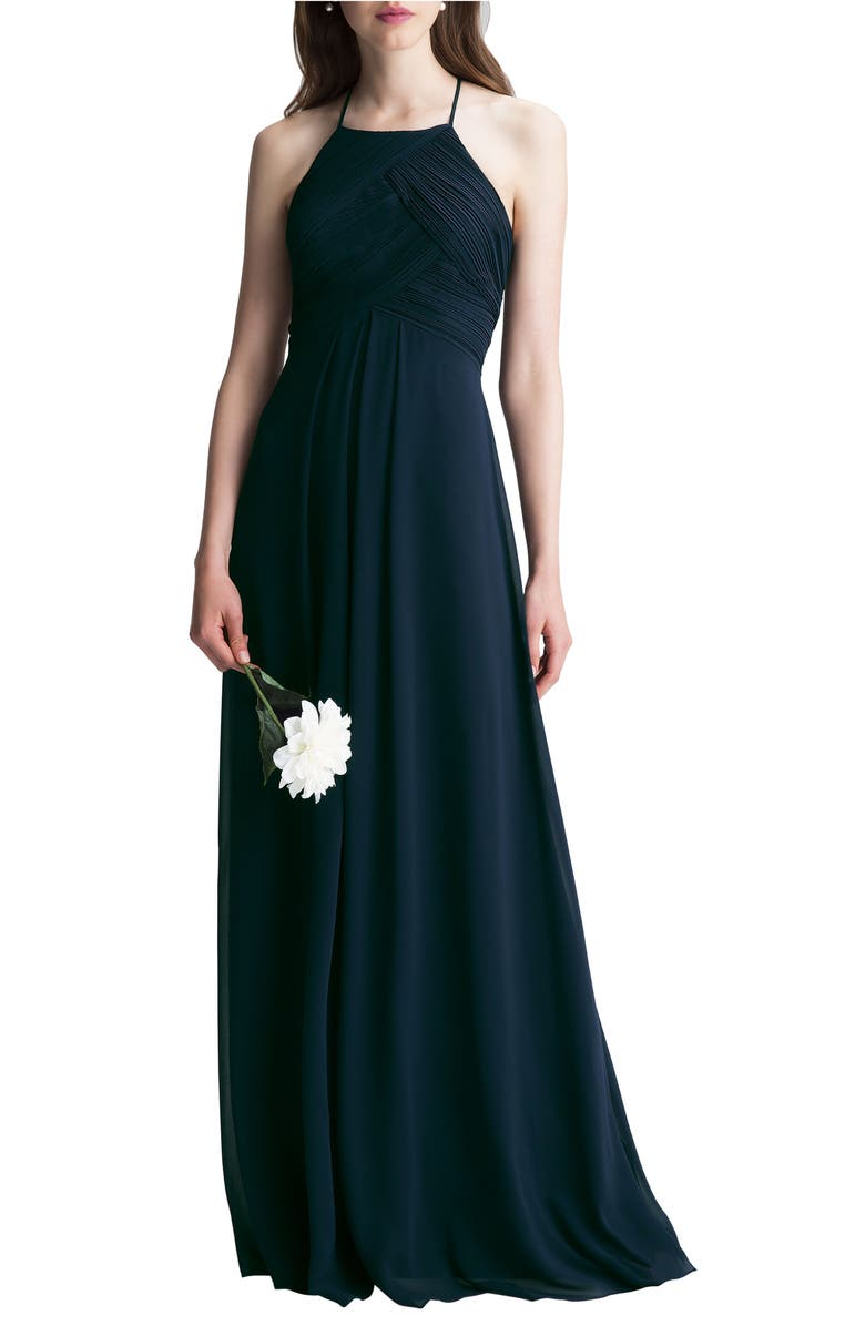 #LEVKOFF Halter Chiffon A-Line Gown, Main, color, NAVY