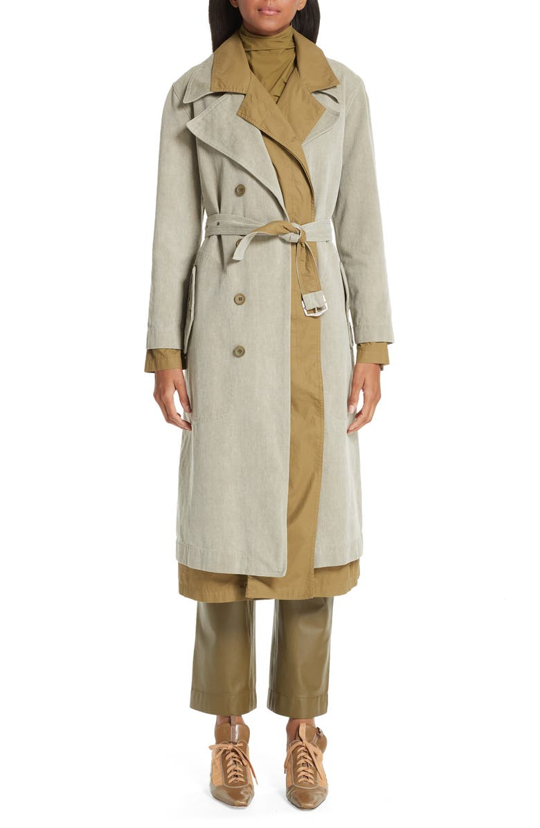 SIES MARJAN Devin Layered Cotton Canvas Trench Coat, Main, color, 300