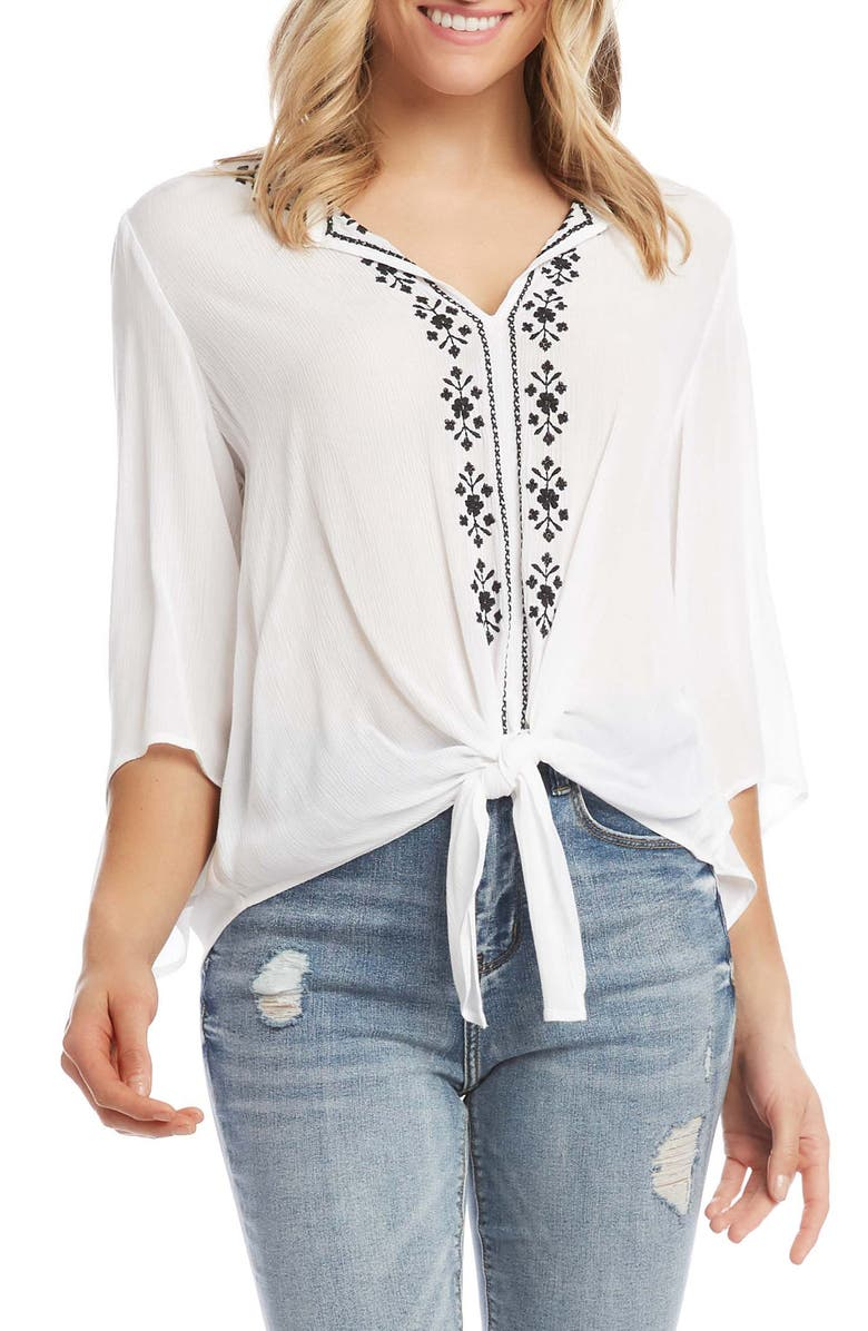 KAREN KANE Embroidered Tie Front Top, Main, color, OWH