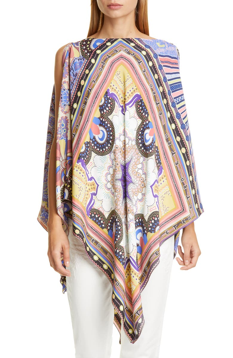 ETRO Geo Print Cover-Up Poncho, Main, color, 500