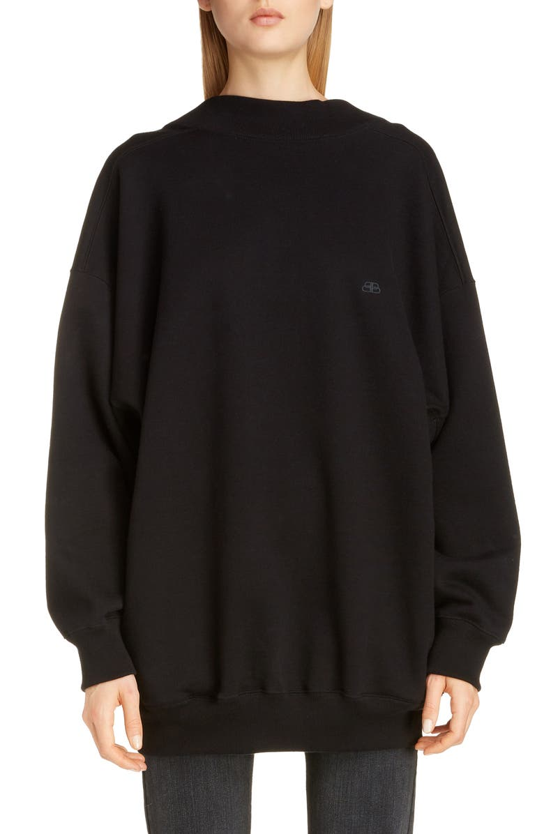 BALENCIAGA Wide Neck Sweatshirt, Main, color, 001