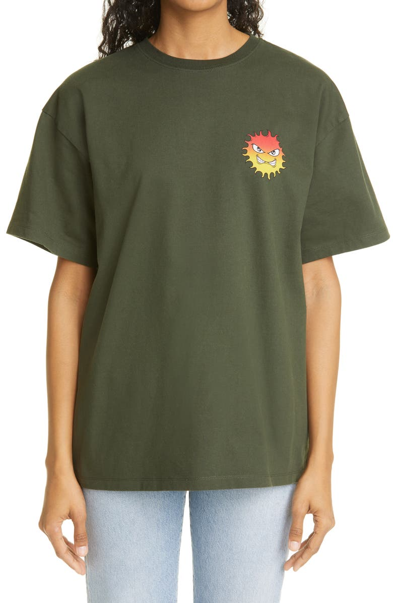 RASSVET Unisex Sun Graphic Tee, Main, color, DARK GREEN