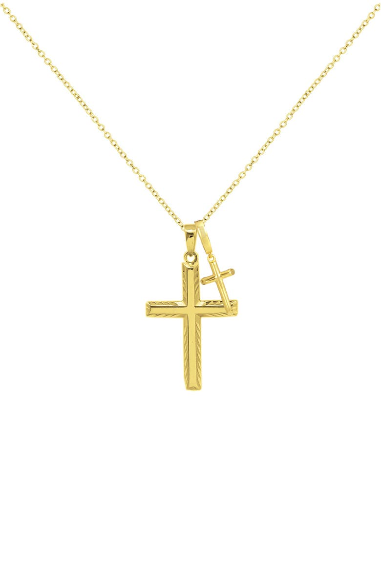 SAVVY CIE JEWELS 18k Gold Plated Sterling Silver Cross Necklace, Main, color, YELLOW
