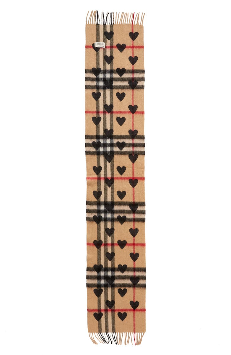 BURBERRY Heart & Giant Check Fringed Cashmere Scarf, Main, color, 001